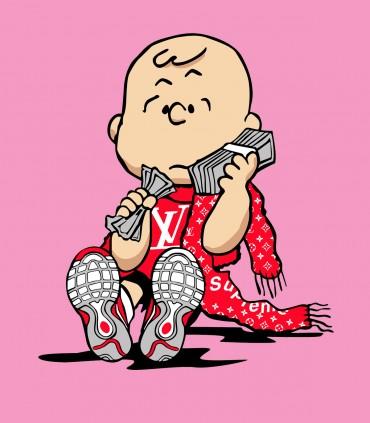 Camiseta TYS Fake Loui Vuitton Snoopy Charlie Brown